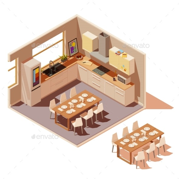 Vector Isometric Kitchen Interior Cross-Section - Buildings Objects