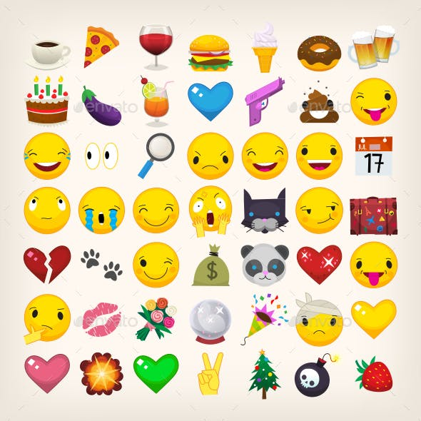 Collection of Yellow Face Emoticons and Emoji Icons Part 2