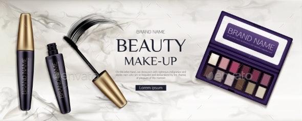 Cosmetic Eye Shadow Palette Mascara Tubes Brush - Health/Medicine Conceptual