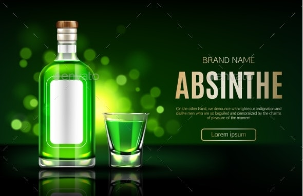 Absinthe Bottle and Shot Glass Mock Up Banner - Food Objects