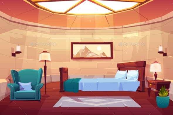 Bedroom in Castle or Palace Empty Sunny Apartment - Buildings Objects