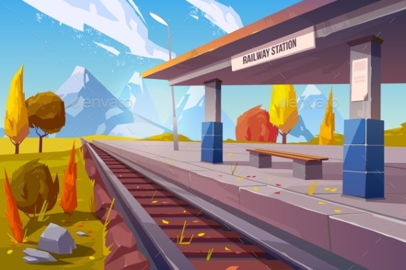 Railway Station at Mountains Autumn Landscape - Buildings Objects