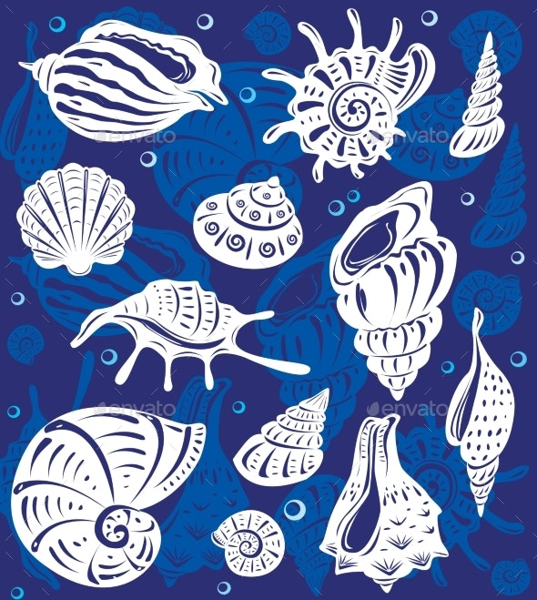 Set of Decorative Shells on Blue Background - Organic Objects Objects