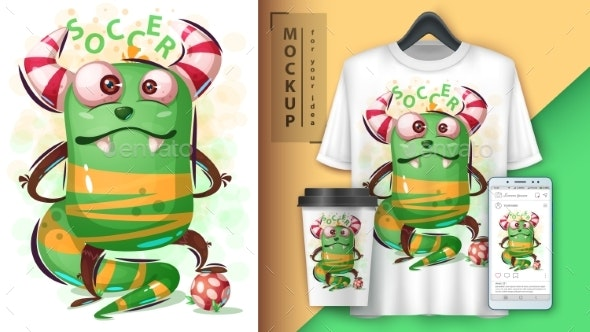 Monster Plays Soccer - Mockup for Your Idea - Animals Characters