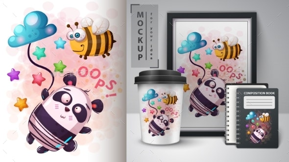 Bee and Panda - Mockup for Your Idea - Animals Characters