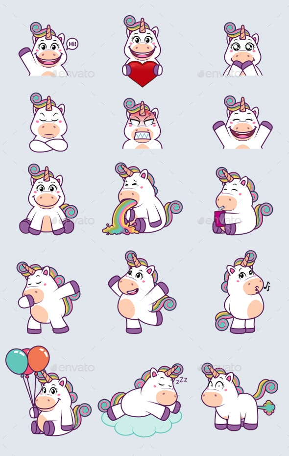 Unicorn Stickers - Animals Characters
