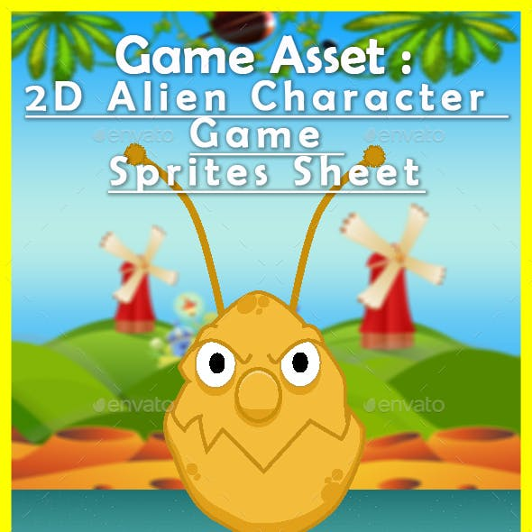 Game Asset : 2D Alien Character  Game  Sprites Sheet