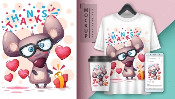 Gift Mouse - Mockup for Your Idea - Animals Characters