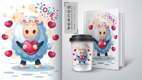 Lamb with Heart - Mockup for Your Idea - Animals Characters