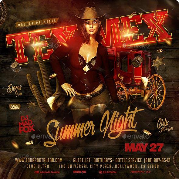 Tex-Mex Summer Night Party Flyer.