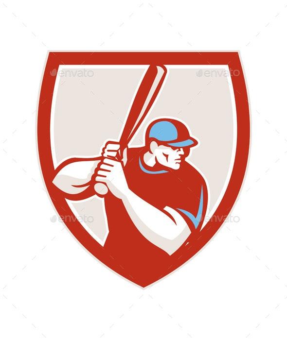 Baseball Player Batter Hitter Shield Retro - Sports/Activity Conceptual