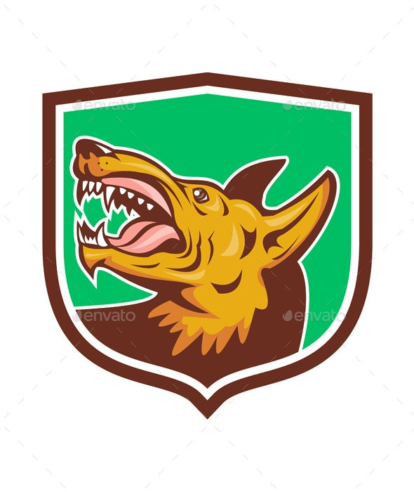 Angry Wild Dog Fangs Side Shield Retro - Animals Characters