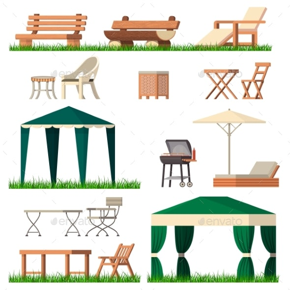 Garden Furniture Vector Tent Table Chair Seats - Man-made Objects Objects