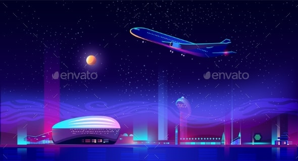 Airplane Take Off From Runway at Neon Night City - Travel Conceptual