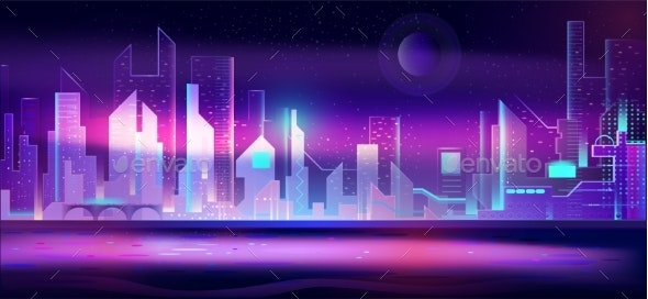 Night City in Neon Lights Futuristic Cityscape - Buildings Objects