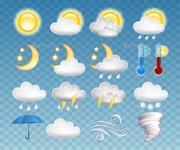 Set of Different Weather Icons Vector Illustration - Miscellaneous Vectors