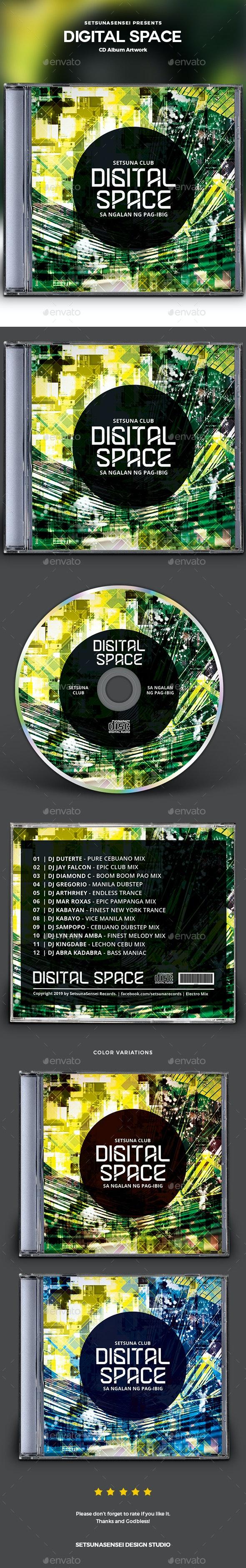 Digital Space CD Album Artwork - CD & DVD Artwork Print Templates