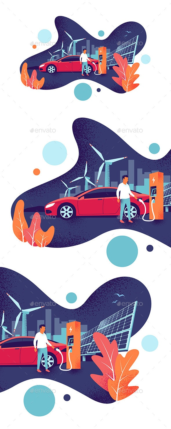 Electric Car Charging at the Charging Station - Industries Business