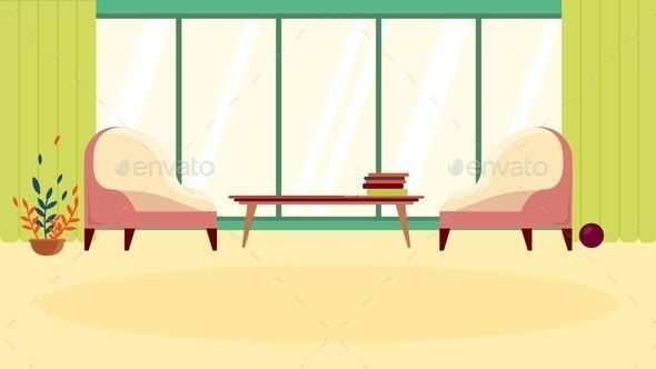 Cartoon Cozy Comfort Waiting Room or Rest Zone - Miscellaneous Vectors