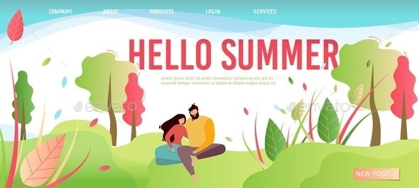 Hello Summer Greeting Cartoon Style Landing Page - People Characters