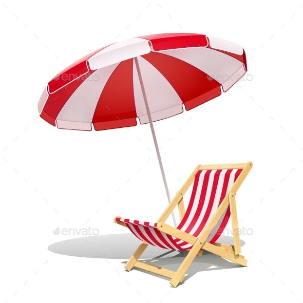 Beach Chaise Longue and Sunshade for Summer Rest. Vector.