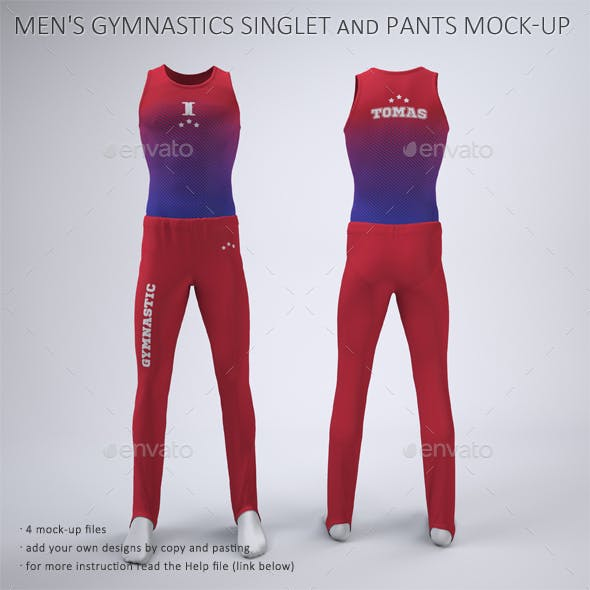 Men's Gymnastics Singlet And Pants Mock-Up