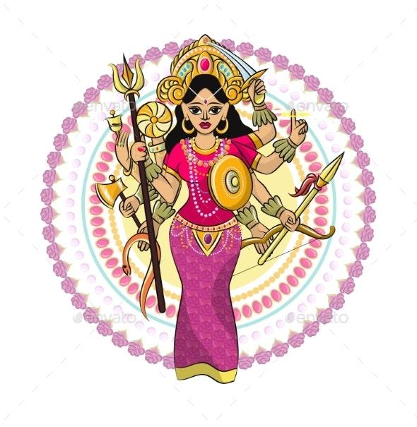 Indian Goddess Vector Hinduism - Religion Conceptual