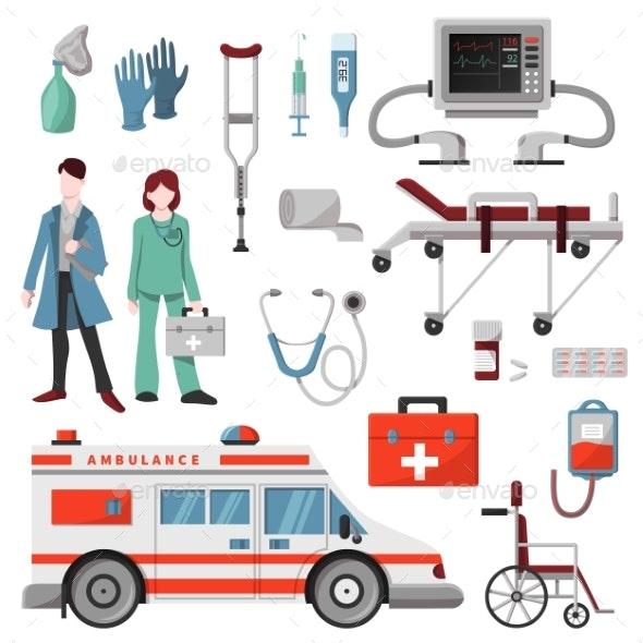 Ambulance Vector Doctor Character Ambulance Car - Health/Medicine Conceptual