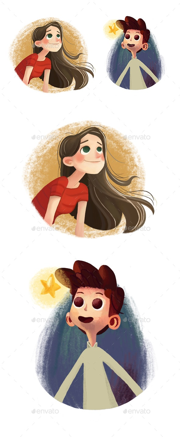 Boy and Girl Characters - Characters Illustrations