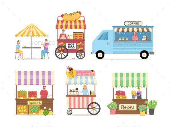 Hot Dog and Coffee Shop Sellers with Products - Business Conceptual