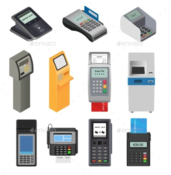 Payment Machine Vector POS Banking Terminal - Man-made Objects Objects