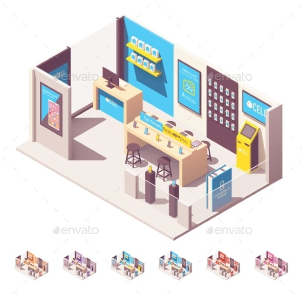 Vector Isometric Mobile Phone Operator Shop - Buildings Objects