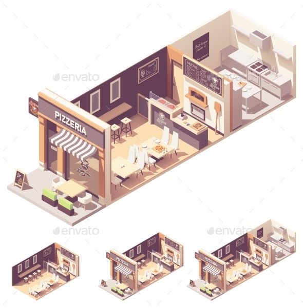 Vector Isometric Pizzeria Interior Cross-Section - Buildings Objects