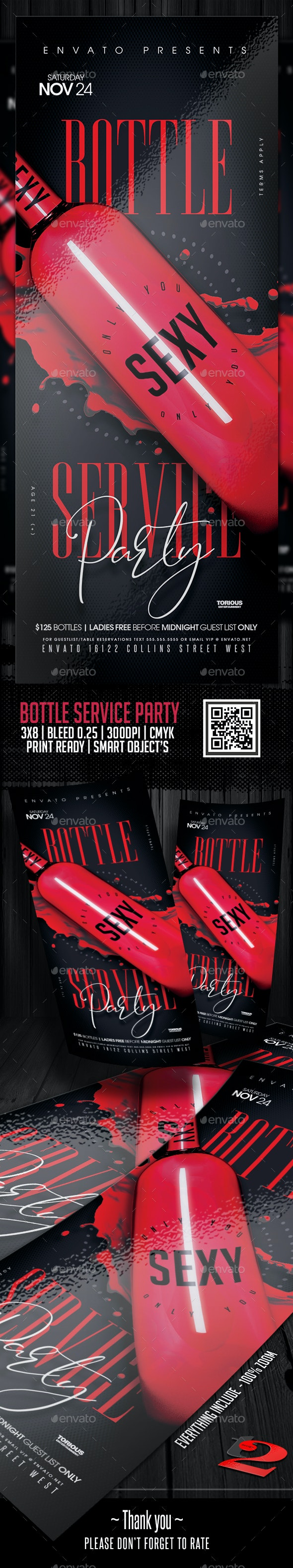 Bottle Service Party Flyer Template - Clubs & Parties Events
