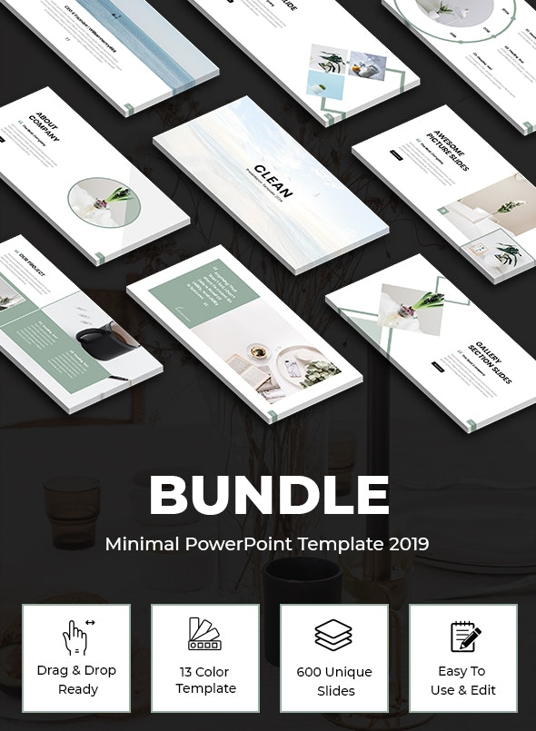 Bundle 2 In 1 Clean - Minimal Powerpoint Template 2019 - Business PowerPoint Templates