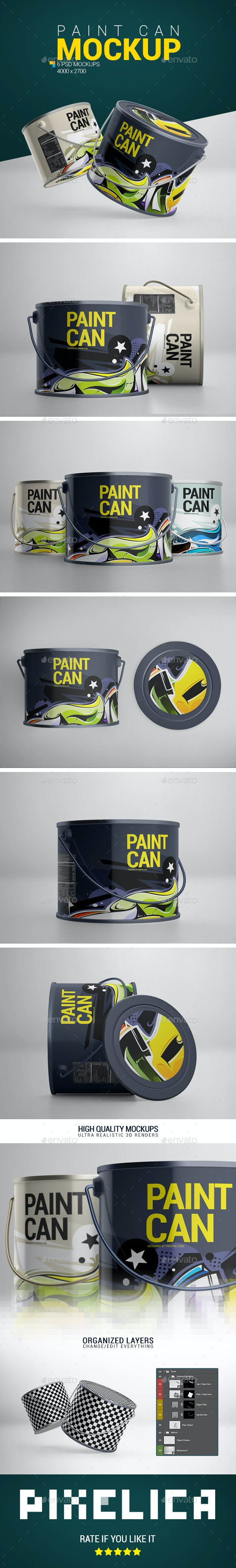 Paint Can Mockup - Product Mock-Ups Graphics