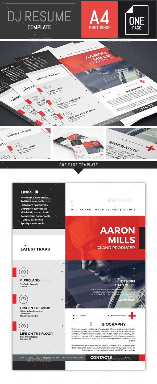 Dj / Musician OnePage Press Kit / Resume Template - Resumes Stationery