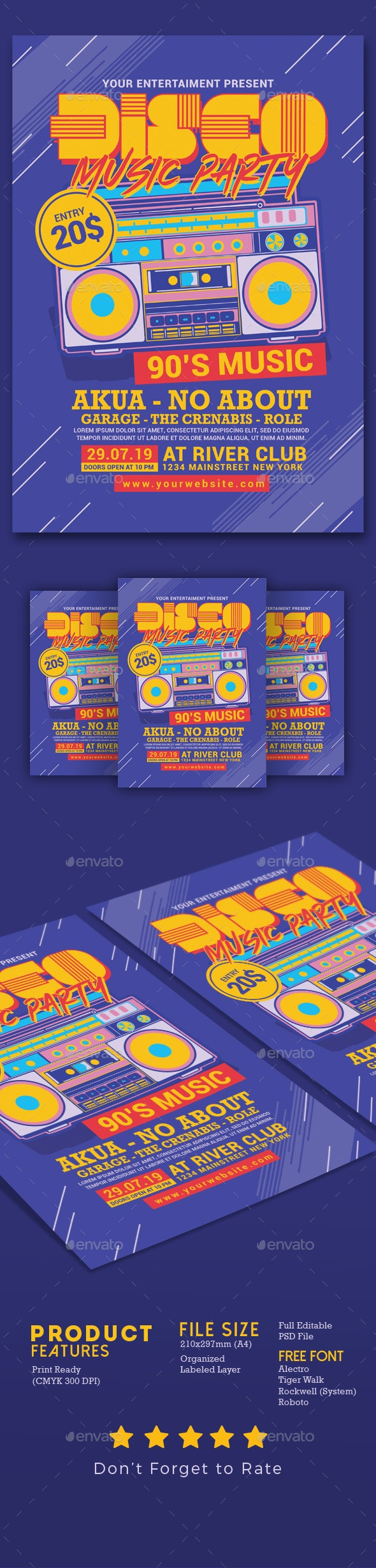 Disco Retro Music Party - Events Flyers