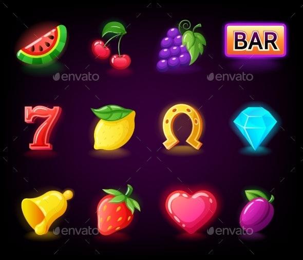 Colorful Slots Icon Set for Casino Slot Machine - Miscellaneous Vectors