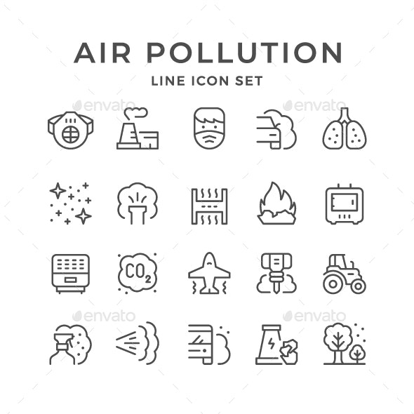 Set Line Icons of Air Pollution - Man-made objects Objects