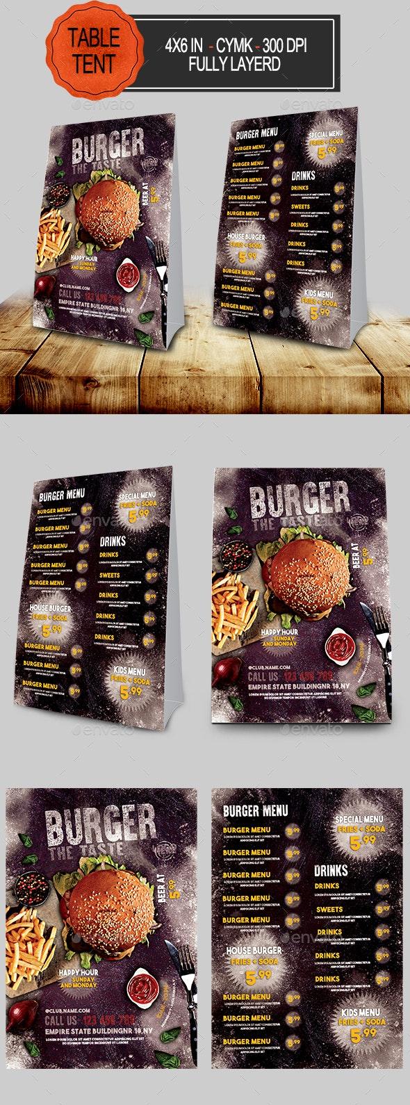 Burger Menu Table Tent - Food Menus Print Templates