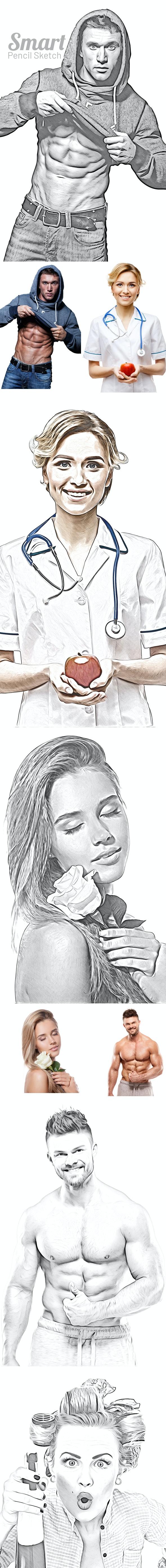 Smart Pencil Sketch - Actions Photoshop