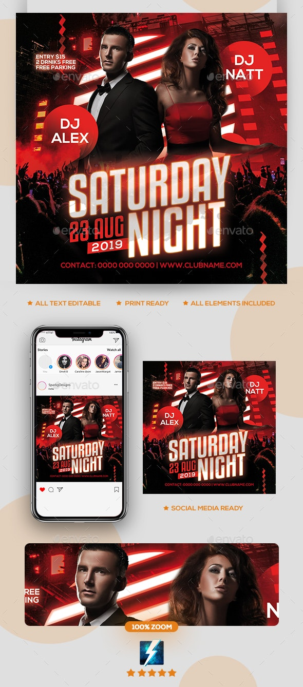 Saturday Night Party Flyer - Clubs & Parties Events
