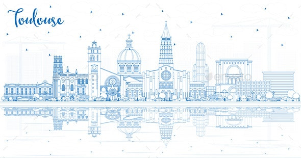 Outline Toulouse France City Skyline with Blue Buildings and Reflections. - Buildings Objects