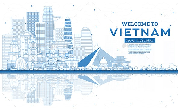 Outline Welcome to Vietnam Skyline with Blue Buildings and Reflections. - Buildings Objects
