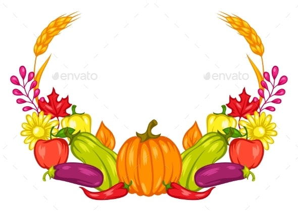 Harvest Frame with Fruits and Vegetables - Food Objects