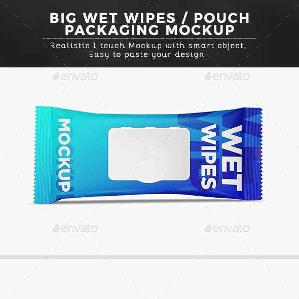 Big Wet Wipes/ Pouch Packaging Mockup