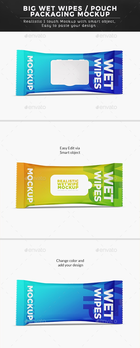 Big Wet Wipes/ Pouch Packaging Mockup - Graphics