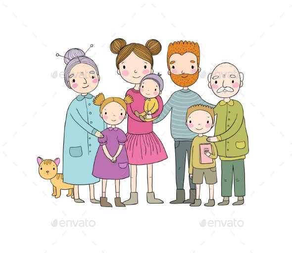 Happy Family. Parents with Children. Cute Cartoon - People Characters