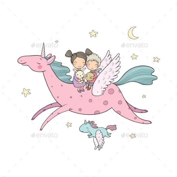 Cartoon Boy and Girl and Unicorn - Miscellaneous Vectors